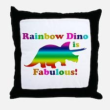 Rainbow dino Throw Pillow