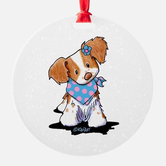 Brittany Spaniel Girl Ornament