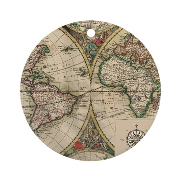 Antique Old World Map Ornament (Round) By NoteableHomeGoods