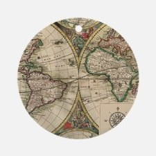 Antique Old World Map Ornament (Round)