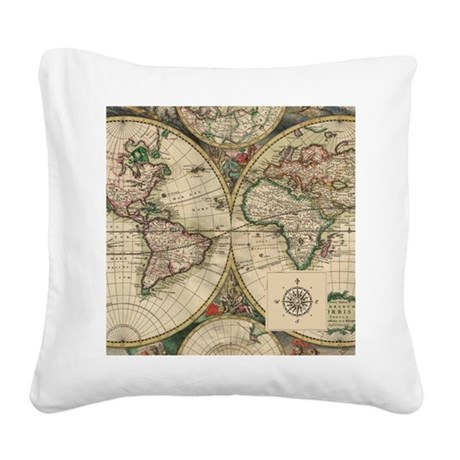 Antique Old World Map Square Canvas Pillow