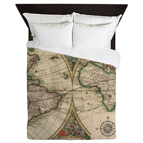 Antique Old World Map Queen Duvet
