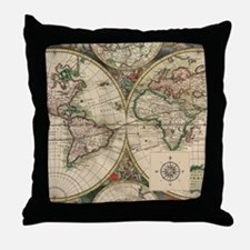 Antique Old World Map Throw Pillow