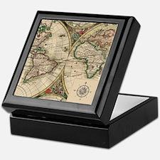 Antique Old World Map Keepsake Box