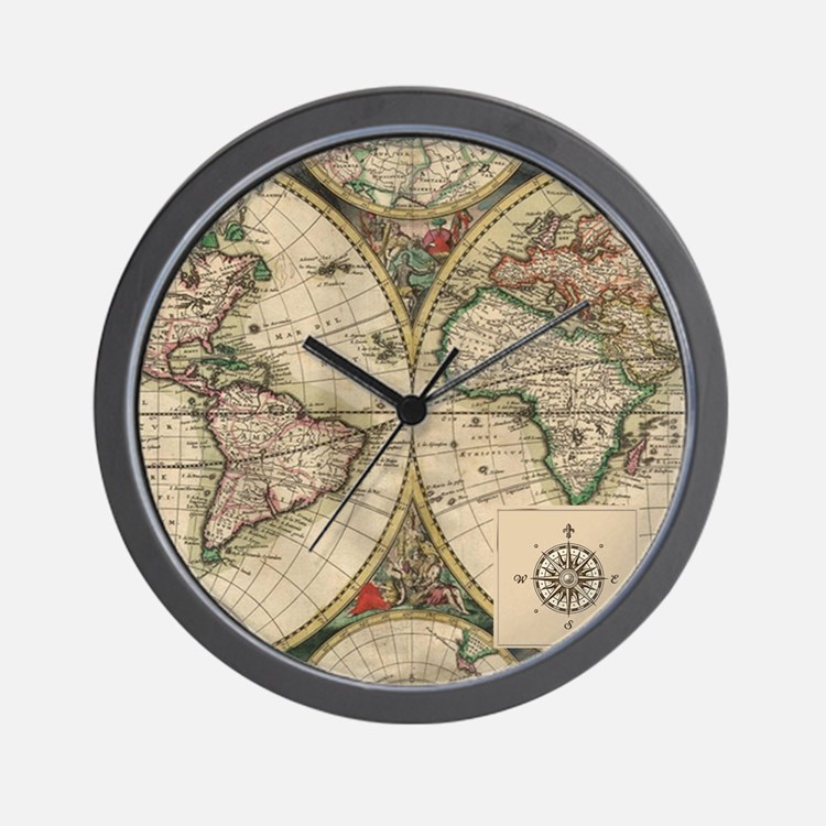 Antique Old World Map Wall Clock