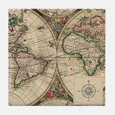 Antique Old World Map Tile Coaster