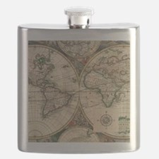 Antique Old World Map Flask
