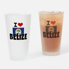 I HEART BELIZE FLAG Drinking Glass