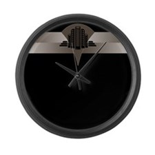 Black and Bronze Art Deco Tower Large Wall Clock