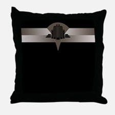 Black and Bronze Art Deco Tower Throw Pillow