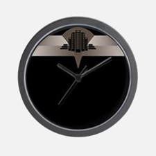 Black and Bronze Art Deco Tower Wall Clock