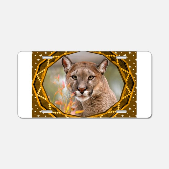 Geometric Cougar Aluminum License Plate