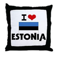 I HEART ESTONIA FLAG Throw Pillow