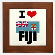 I HEART FIJI FLAG Framed Tile