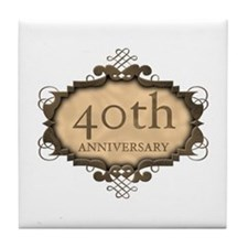 40th Aniversary (Rustic) Tile Coaster