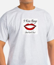 I Kiss Boys (and girls too) Ash Grey T-Shirt