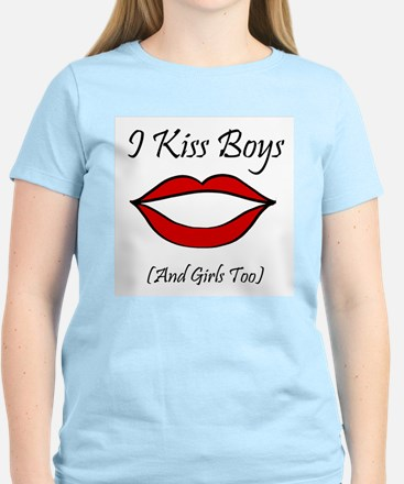 I Kiss Boys (and girls too) Women's Pink T-Shirt