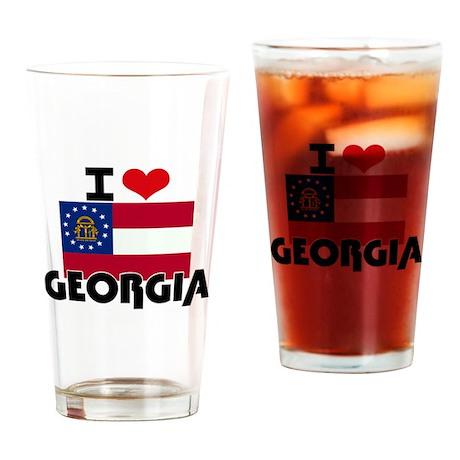 I HEART GEORGIA FLAG Drinking Glass
