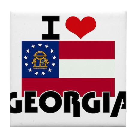 I HEART GEORGIA FLAG Tile Coaster