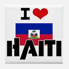 I HEART HAITI FLAG Tile Coaster