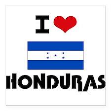 "I HEART HONDURAS FLAG Square Car Magnet 3"" x 3"""