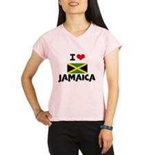 I HEART JAMAICA FLAG Peformance Dry T-Shirt