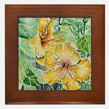 hibiscus flowers tropical exotic art Framed Tile