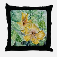 hibiscus flowers tropical exotic art Throw Pillow