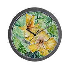 hibiscus flowers tropical exotic art Wall Clock