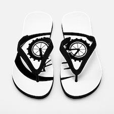 Black swoop fatbike logo Flip Flops