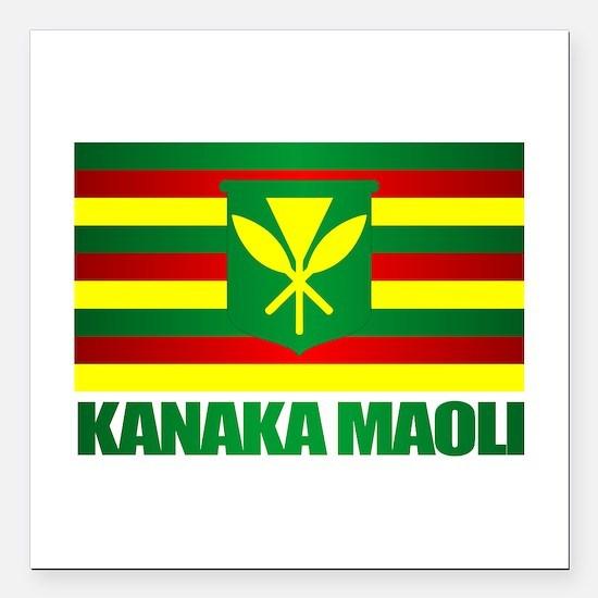 "Kanaka Maoli Flag Square Car Magnet 3"" x 3"""