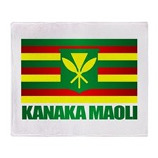 Kanaka Maoli Flag Throw Blanket