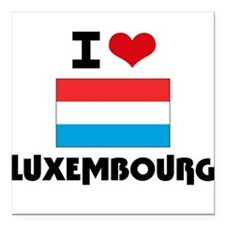 "I HEART LUXEMBOURG FLAG Square Car Magnet 3"" x 3"""