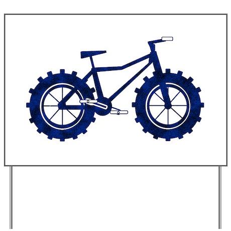 blue n black fat bike logo Yard Sign