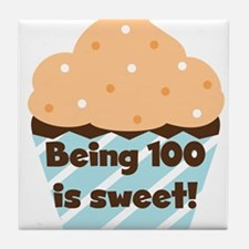Cupcake Sweet 100 Birthday Tile Coaster