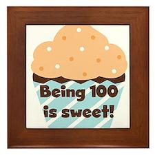 Cupcake Sweet 100 Birthday Framed Tile