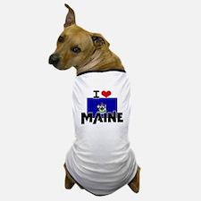 I HEART MAINE FLAG Dog T-Shirt
