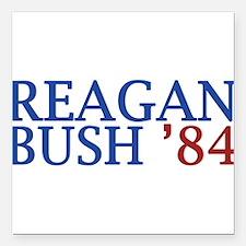 "Reagan Bush '84 Square Car Magnet 3"" x 3"""