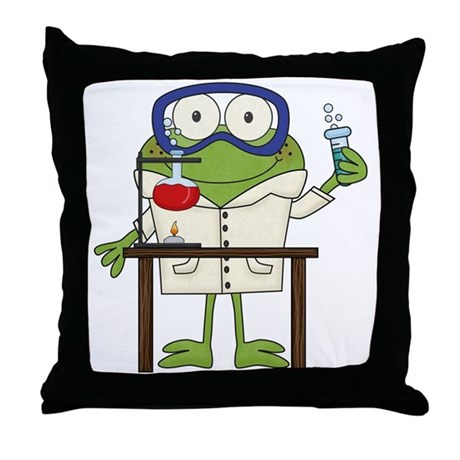 Frog in Science Lab Throw Pillow