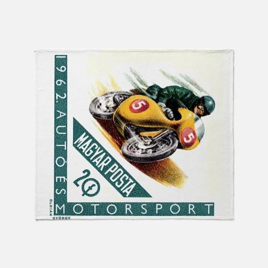 1962 Hungary Motorcycle Racing Postage Stamp Throw
