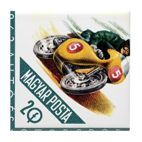 1962 Hungary Motorcycle Racing Postage Stamp Tile