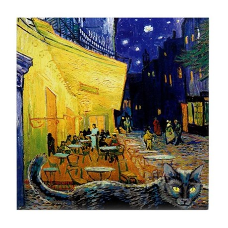 Black Cat Night Cafe Tile Coaster
