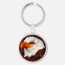 Geometric Bald Eagle Round Keychain