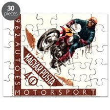 1962 Hungary Motocross Racing Postage Stamp Puzzle