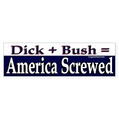 Dick Plus Bush Equals Screwed (sticker)