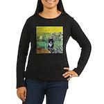 Irises & Cat Women's Long Sleeve Dark T-Shirt