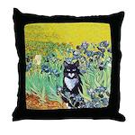 Irises & Cat Throw Pillow