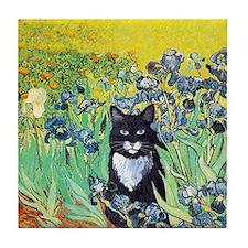Irises & Cat Tile Coaster