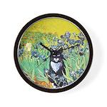Irises & Cat Wall Clock