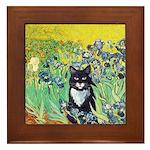 Irises & Cat Framed Tile